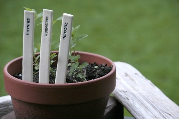 Hand-crafted ceramic garden markers