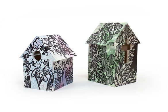 Six Point Un's graffiti-covered birdhouses