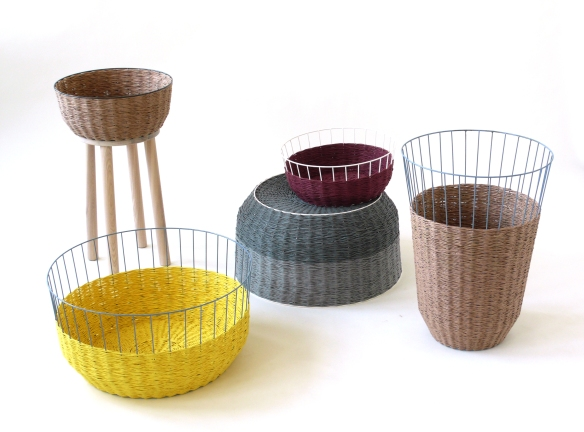 Baskets made from paper yarn