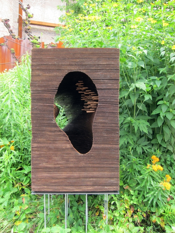 A cardboard bee hive at Toronto's Brickworks